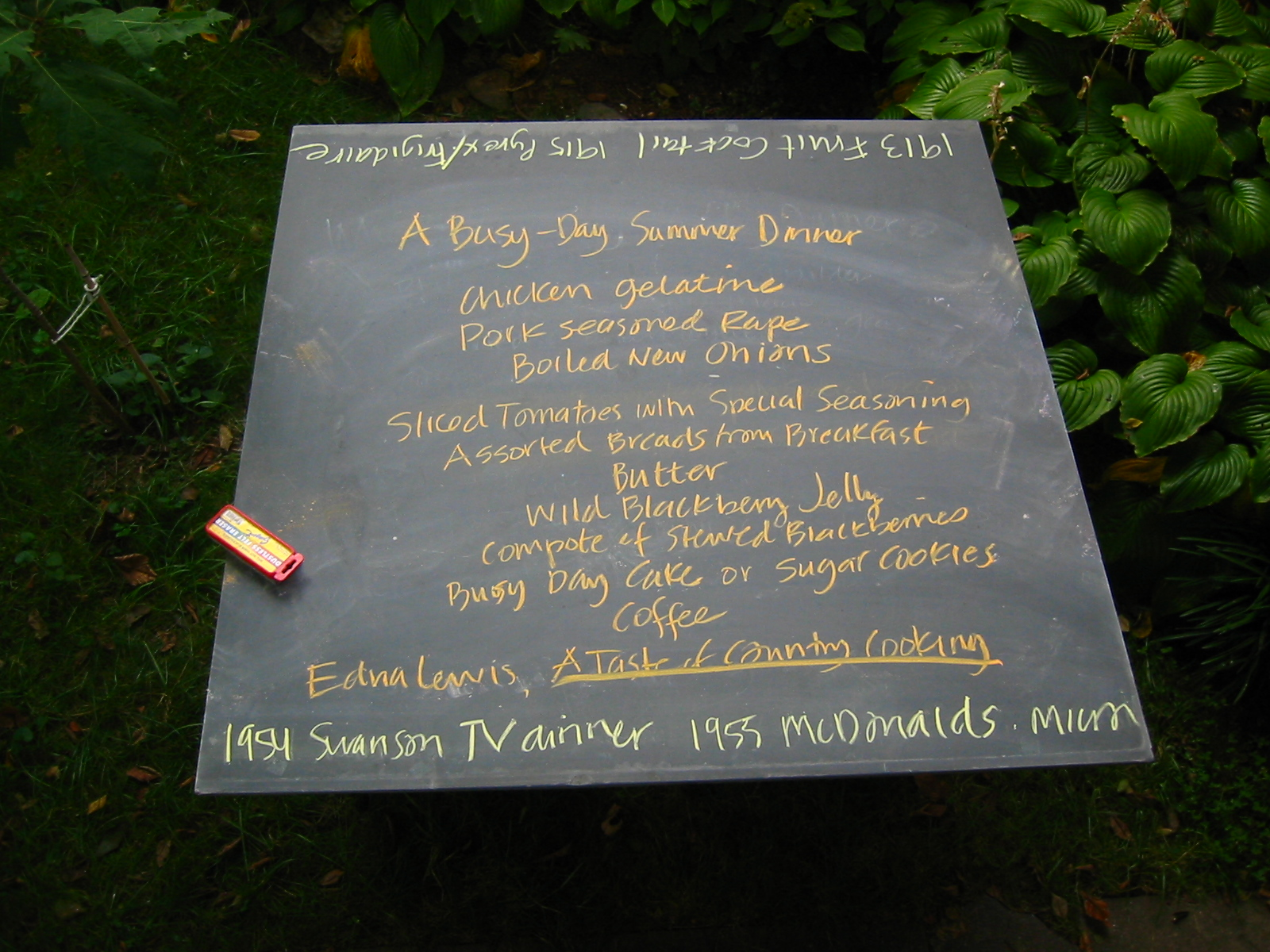 'a busy day summer menu' mock-up for Honeycutt sculpture, at Table, 2005